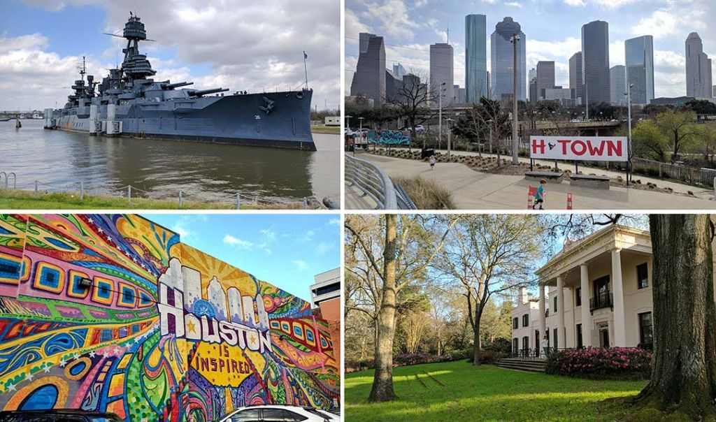 Images of Houston - Battleship Texas, Downtown Houston Skyline, Downtown Houston Graffiti and MFAH Bayou Bend, Texas; from a travel blog by www.traveljunkiegirl.com