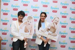 Baby selfie time- Mandira Bedi and Tara Sharma pose at the exclusive preview of the softest diaper for babies- Pampers Premium Care Pants in Mumbai