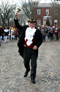 Nantucket Town Crier leading the Christmas Stroll