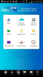 DFW Airport App home screen