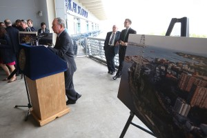 NY Mayor Michael Bloomberg unveils plans for the New York Wheen and Harbor Commons on Staten Island.