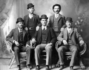 Photographed in Fort Worth, the Fort Worth Five included Butch Cassidy on the right, and the Sundance Kid on the left.
