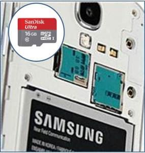 Samsung smartphone with microSD card
