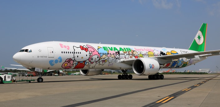 "EVA Air's Hello Kitty themed Boeing 777, ""Sanrio Family Hand-in-Hand"""