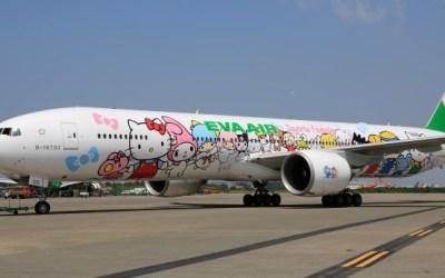 "EVA Air's Hello Kitty themed Boeing 777, ""Sanrio Family Hand-in-Hand"""