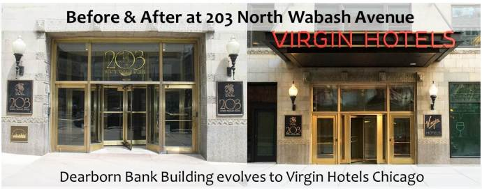 Before and after look at the facade of Virgin Hotels Chicago.