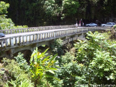 One of the 44 one-lane bridges on the Road to Hana. Pulloutss on either side get very full as people get out to explore the beautiful canyon.