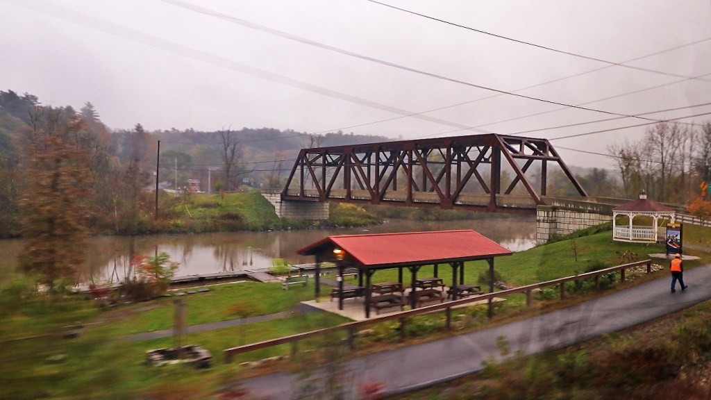River crossing and park near Whitehall NY from the Amtrak Adirondack, by TravelLatte.