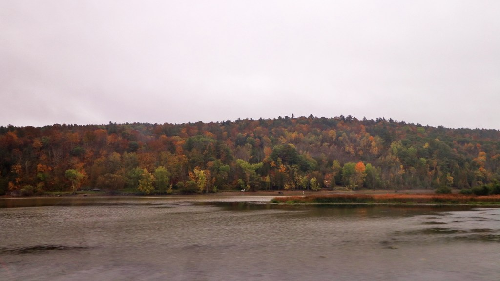 The Poultney River forms one branch at the southern end of Lake Champlain, seen from the Amtrak Adirondack, by TravelLatte.