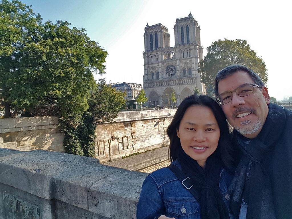 Ann & Rob at Cathédrale Notre-Dame de Paris - Three Alternative Notre Dames on Day Trips from Paris on TravelLatte.net
