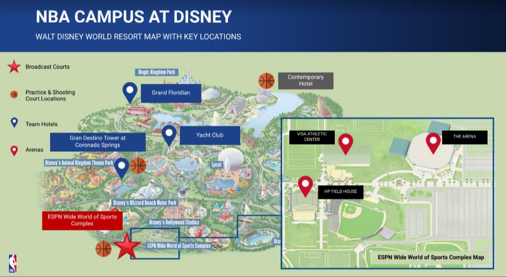 Disney World Reopening - NBA Disney Campus Map - TravelLatte