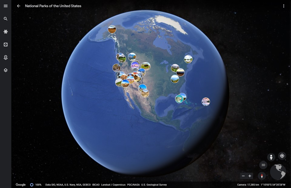 Google Earth - National Parks Tour - Armchair Traveler - TravelLatte