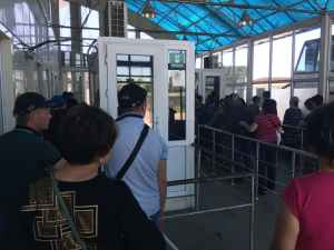 Border crossing for the Bishkek to Almaty taxi and bus route