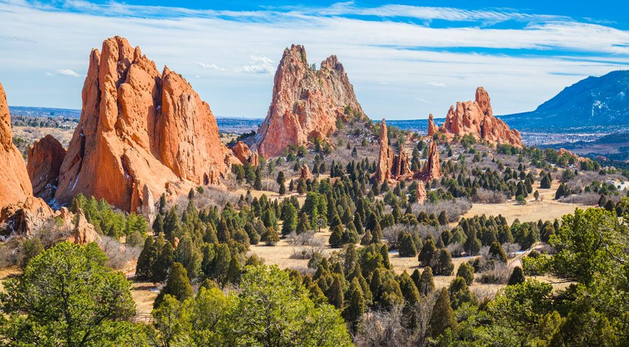 Scenic view of rock formation in the Garden of the Gods