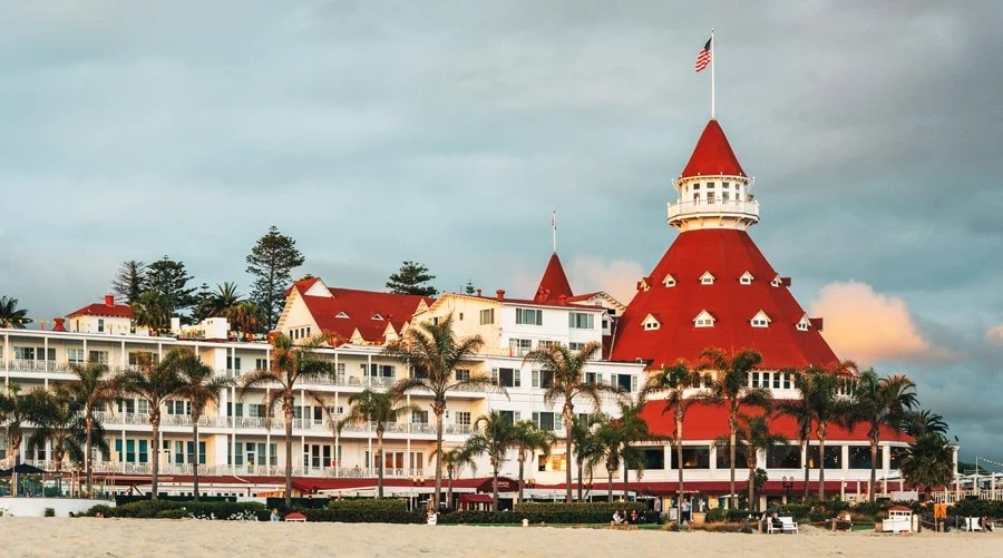 View of the Hotel del Coronado and the white sand by the beach
