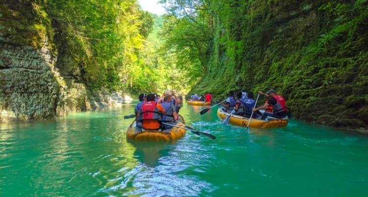 Rafts in Martivili Canyon