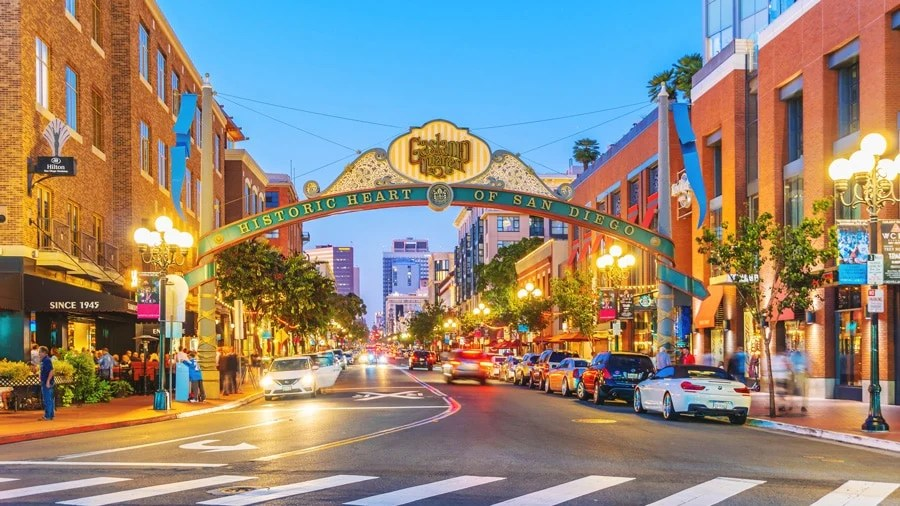 View of the busy street in The Gaslamp Quarter