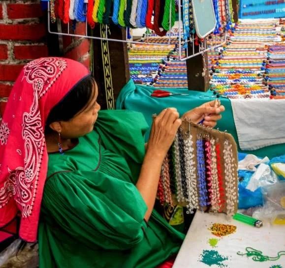 An artisan at the Mercado de Artesanías La Ciudadela