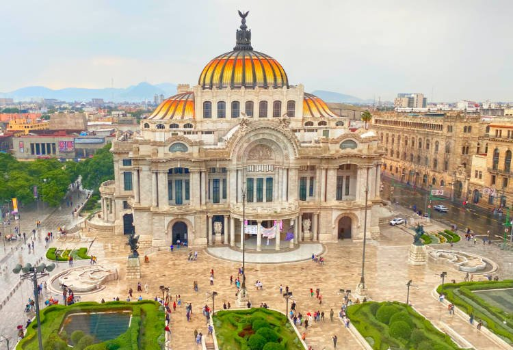 View of Mexico City's Palacio de Bellas Artes from the cafe at the Sears department store