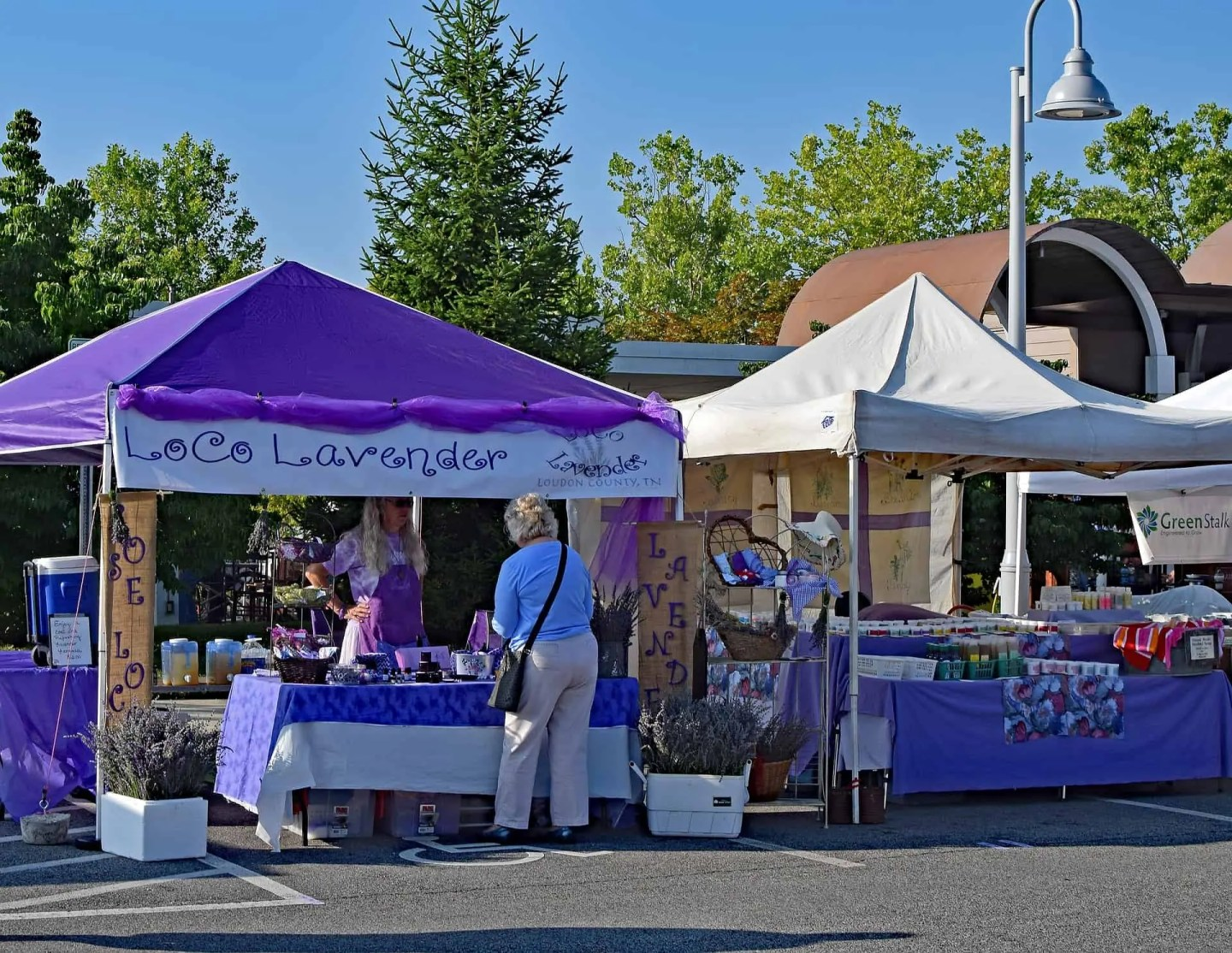 Lavender market in a nearby village on Valensole Plateau in Provence, France.