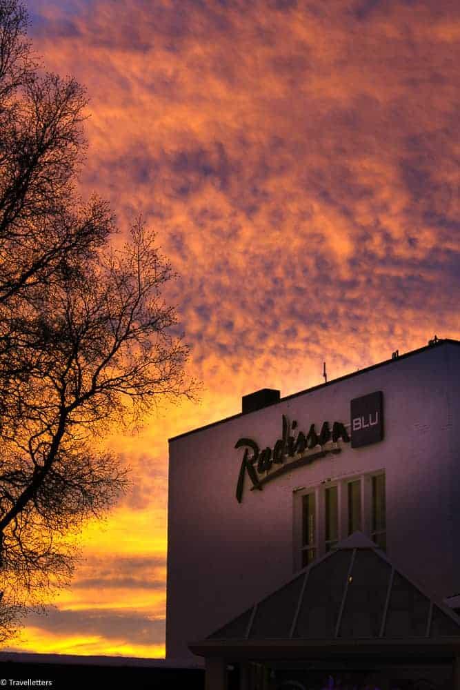 Radisson Blu Mountain Resort i solnedgang
