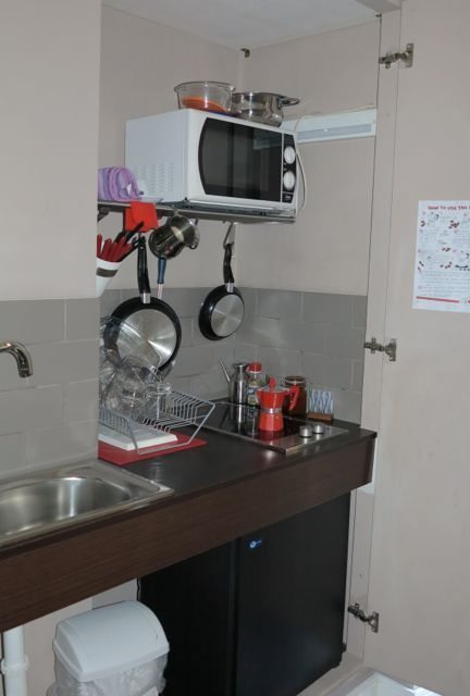 We had a little kitchenette inside a cupboard at Residence Regola