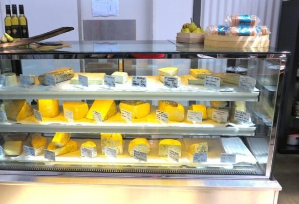 Cheese counter with a huge variety of local and imported cheeses