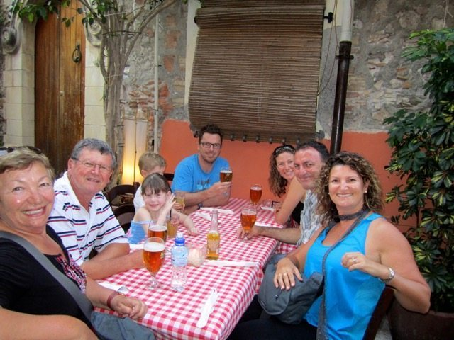 Family dinner in Toarmina, Sicily
