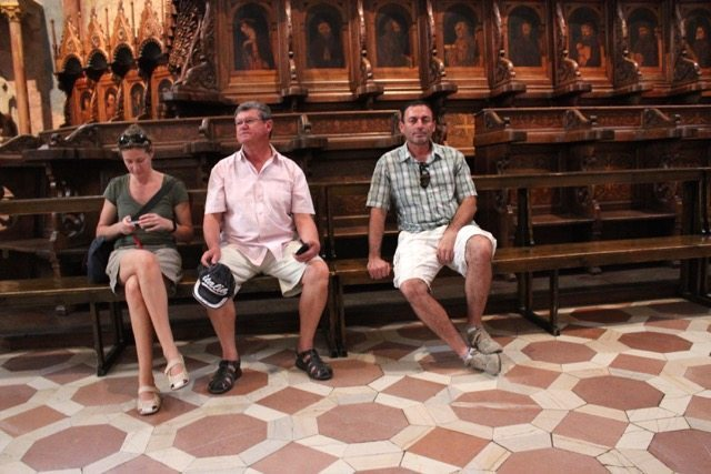 This is the funniest photo taken in Assisi, Umbria. Susie checking her phone, Dad and Zorba looking completely bored as they sit in ABC (another bloody church)