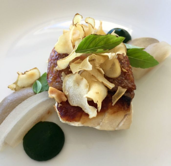 Snapper, Jerusalem artichoke, smoked nettle and nashi