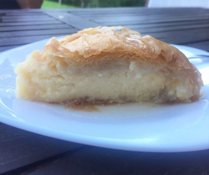 Kalatombouriko from the Sugaro Pastry Shop in Skala, Kefalonia