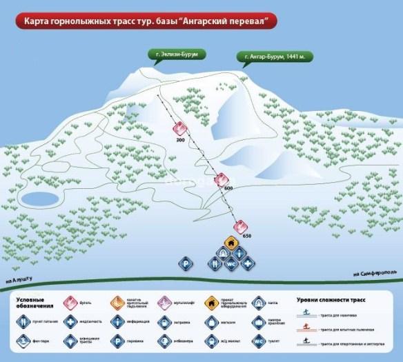 карта лыжных трасс Ангарский перевал