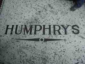 The tiles bearing the Humphrys name at the entrance to the pub