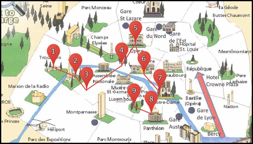 Map Of Major Attractions In Paris France a map of the top tourist – Tourist Attractions Map In France