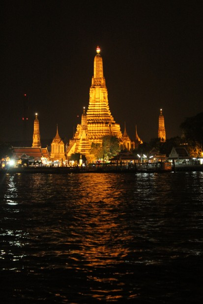 Wat Arun, the temple of Dawn, is illuminated every night.
