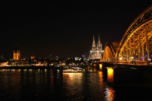 "The Cologne Cathedral ""Kölner Dom"" with the Hohenzollern Bridge and St. Martin's church on the right"