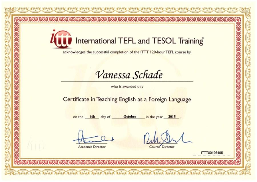 TEFL certificate - Vanessa Schade, Germany