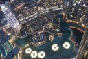 "The ""Dubai Fountain"" and the Dubai Mall at night seen from the Observation Desk of the Burj Khalifa"