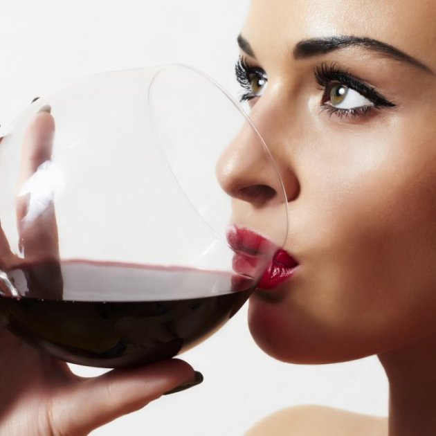 Woman & Glass of Red Wine