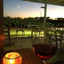 Fillaudeau's in the Swan Valley restaurant beautiful sunset over vines