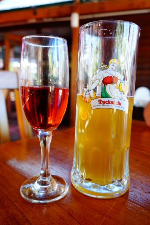 Duckstein Brewery Swan Valley Perth beer and strawberry sparkling wine