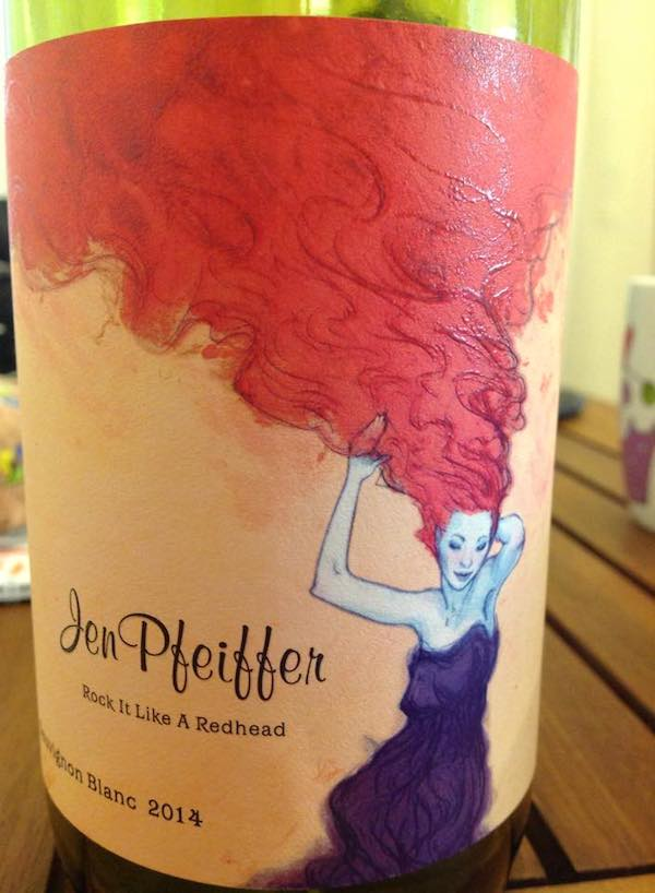 Jen Pfeiffer Rock it Like a Redhead 2014 'The Rebel' Sauvignon Blanc from Victoria, Australia