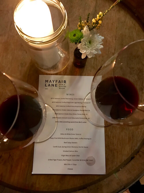 Red Wine & Menu - Mayfair Lane Meet the Winemaker
