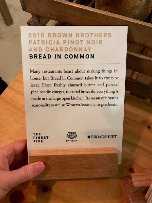 Bread in Common Table at Brown Brothers Patricia Launch