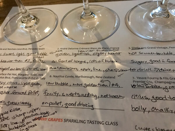 Canny Grapes Tasting Sheet - Sparkling Wine Tasting Class - Close Up