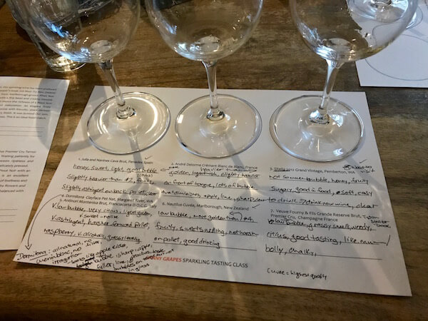 Canny Grapes Tasting Sheet - Sparkling Wine Tasting Class