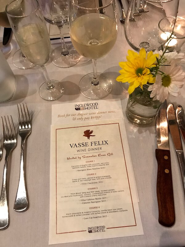 Menu at the Vasse Felix Wine Dinner at the Inglewood Hotel