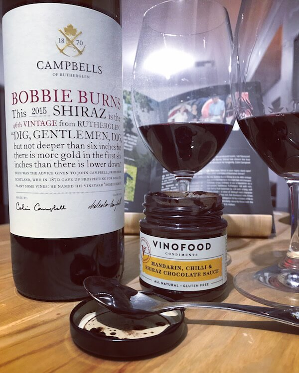 Campbell's 'Bobbie Burns' 2015 Shiraz & VinoFood Mandarin, Chilli & Shiraz Chocolate Sauce