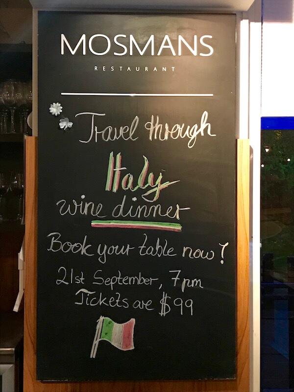 Mosmans Restaurant - Italian Wine Dinner