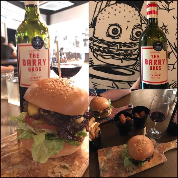 The Barry Bros by Jim Barry 2015 Shiraz Cabernet & 8 Napkins Burgers